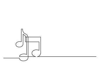 one line drawing of isolated vector object - music notes