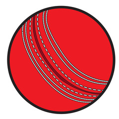 Isolated cricket ball on a white background, Vector illustration