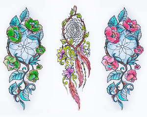 Set of sketches of a dreamcatcher with flowers on a white background.