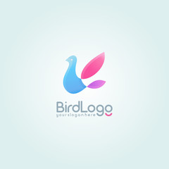 Flying Bird logo. Colorful logotype design template.