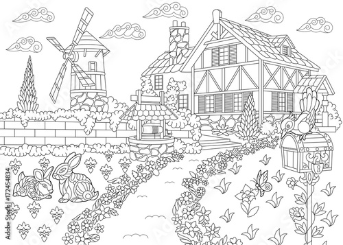 coloring page of rural landscape farm house windmill water well mail box - Free Coloring Books By Mail