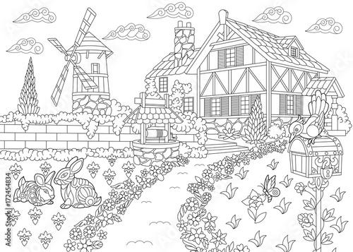 quot Coloring page of rural landscape