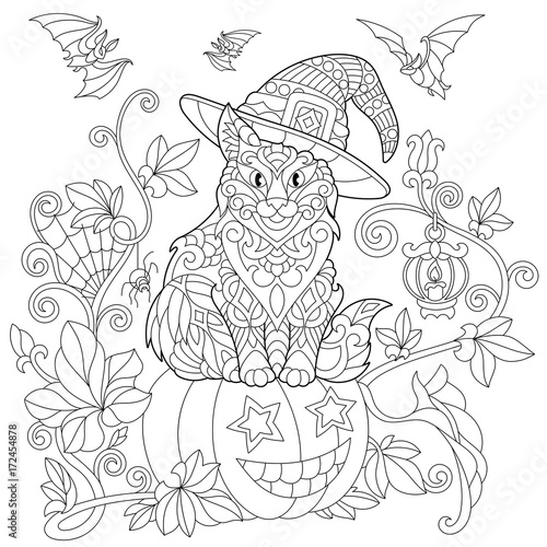 Coloring page of cat in a hat sitting on a halloween pumpkin, flying ...