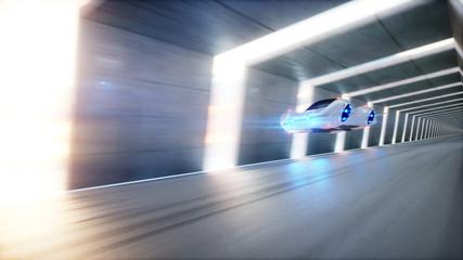 Futurystyczny tunel 3D z latającym samochodem