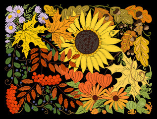Embroidery imitation with autumn flowers, leaves and plants in a