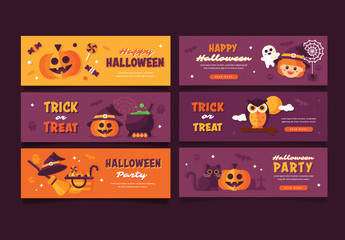Set of 6 Halloween Web Banners 1