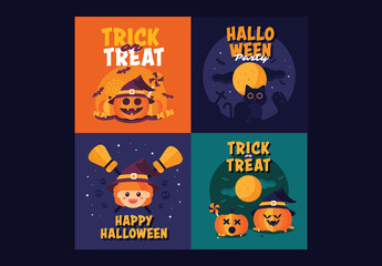 4 Square Halloween Cards 2