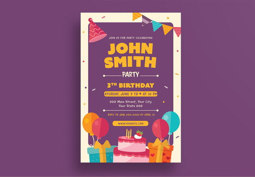 Birthday Party Invitation Layout 1