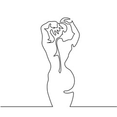Continuous line drawing. Woman back. Vector Illustration
