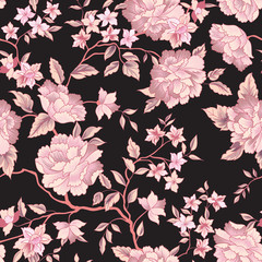 Floral seamless pattern. Garden flower background