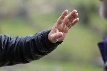 Human hand, selective focus