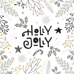 Holly Jolly - hand drawn Christmas lettering with floral and decorations. Cute New Year clip art. Vector illustration