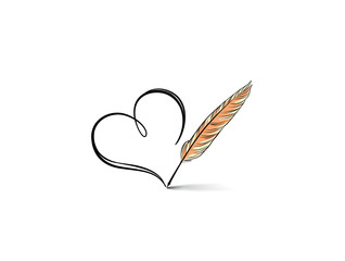Heart icon. Stylish line art sign