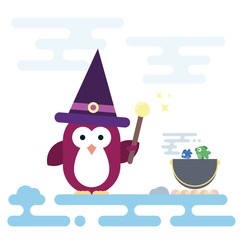 Flat penguin character stylized as witch with magic stick and with pot. Modern flat illustration.