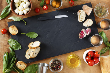 Italian Cuisine. Ingredients for traditional Italian bruschettes