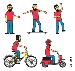 Bearded man in t-shirt and jeans makes welcome gesture, joyfully jumps up. Character is riding a longboard, bicycle, scooter.