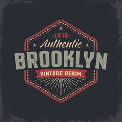 Authentic Brooklyn grunge retro design of the label, badge, print on the T-shirt.