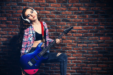 pop star with guitar