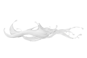 Abstract splashes of milk or cream on white background