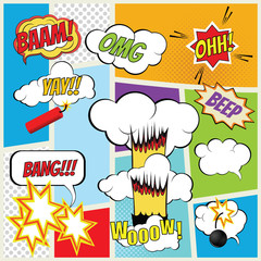 Vector comic book explosion elements