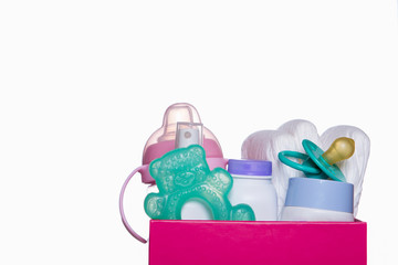 box full of baby accessories