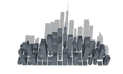 3D model of city on white background. 3D rendering illustration.