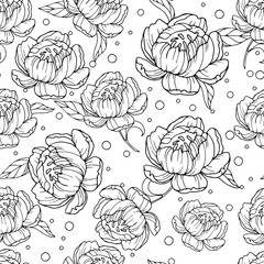 Vector seamless pattern with hand drawn peony flowers. Beautiful floral design elements for fabric, Wallpaper, paper, clothing, prints. Illustration of thin lines.