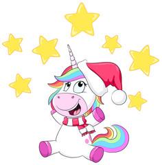 Weihnachtliches Einhorn - Vektor Illustration