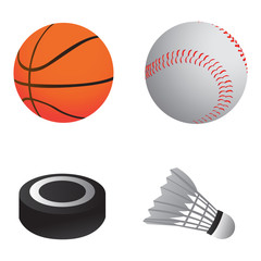 Set of sport balls on a white background, Vector illustration