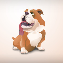 Lovely bulldog in cartoon style