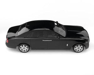 Super black modern luxury car - top side view