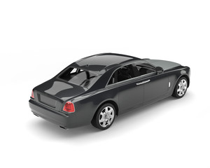 Dark grey metallic modern luxury car - back view