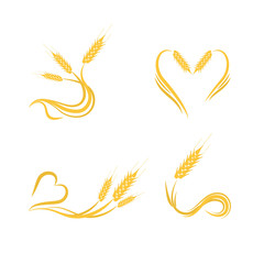 Set of wheat logo design illustrations for bakery