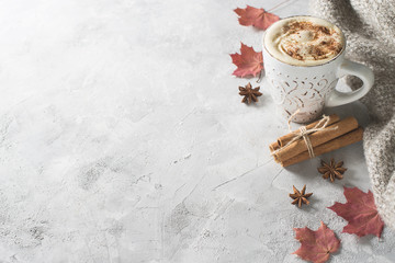 Pumpkins spice latte with pumpkins