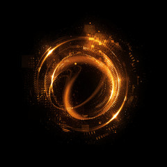 Abstract background. luminous swirling. Elegant glowing circle. Big data cloud. Light ring..Sparking particle. Colorful ellipse. Glint sphere. Bright border. Magic portal. Energy ball.