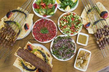 turkish kebab, shish kebab and liver shish kebab menu
