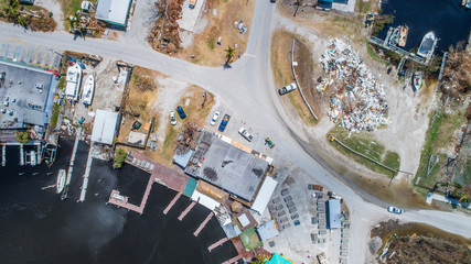 Aerial images of post hurricane Irma damage over Goodland, Florida. A small fishing village on the southwest coast near Naples