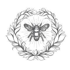 Bee Vintage Emblem In Floral Wreath