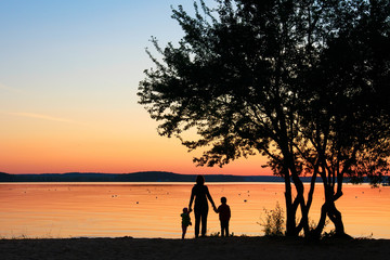 Family holds hands under tree at sunset.