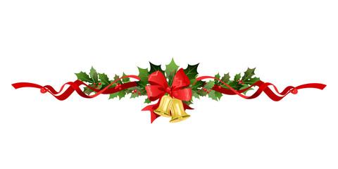 Christmas festive poinsettia and bell