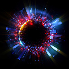 Abstract spacescape, black hole. Star on dark background. Magic explosion star with particles. .Speed of light. Motion blur. Journey to the universe. Lights trail using zoom. light warp speed. Nebula