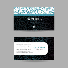 Horizontal business card. Oriental pattern. Complied with the standard sizes.