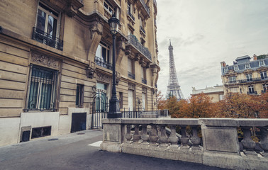the Eiffel Tower view from the Avenue de Camoens in paris, france