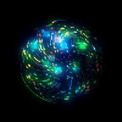 Abstract background. 3d atom model. Elegant glowing circle. Light ring.