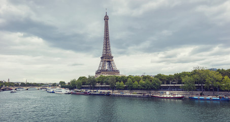 Eiffel tower with Seine river, Paris. France.