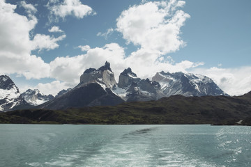 Los Cuernos in Torres del Paine National Park view from the boat, Chile