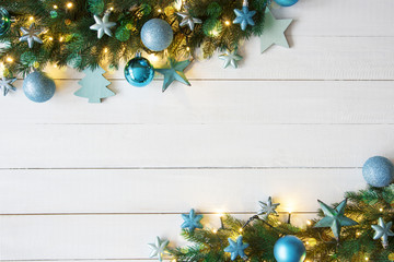 Turquoise Christmas Banner, Frame, Bokeh, Copy Space