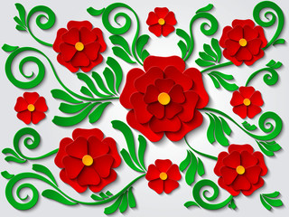 Beautiful paper cut out floral background with red flowers and green leaves. Vector illustration