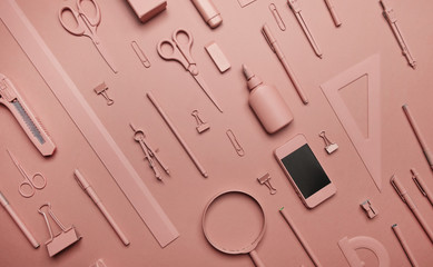 Pink stationery on pink background.