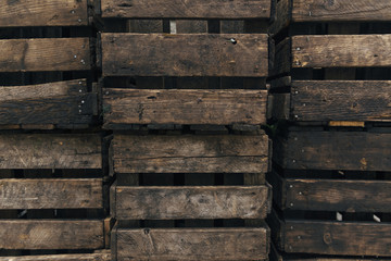 Stacks of wooden crates